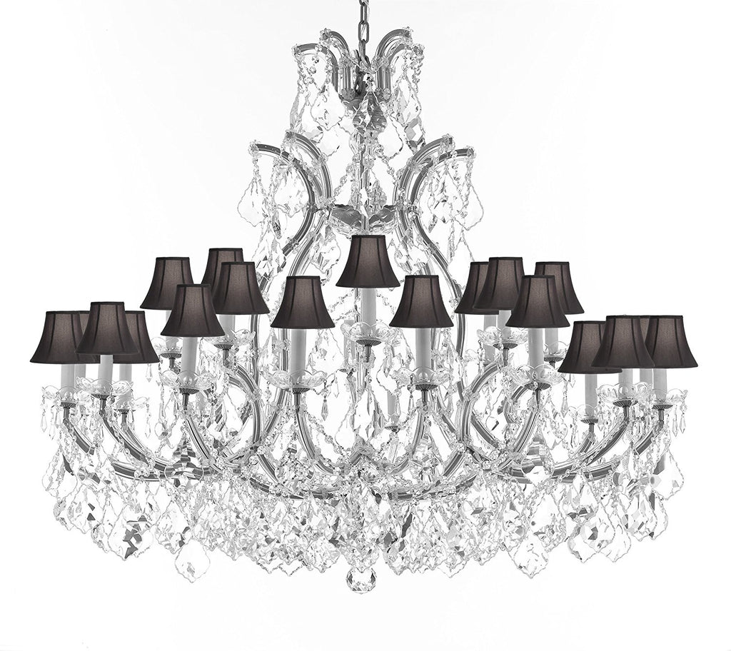 "Swarovski Crystal Trimmed Chandelier Lighting Chandeliers H41"" XW46"" Great for the Foyer, Entry Way, Living Room, Family Room and More w/Black Shades - A83-B62/CS/BLACKSHADES/52/2MT/24+1SW"