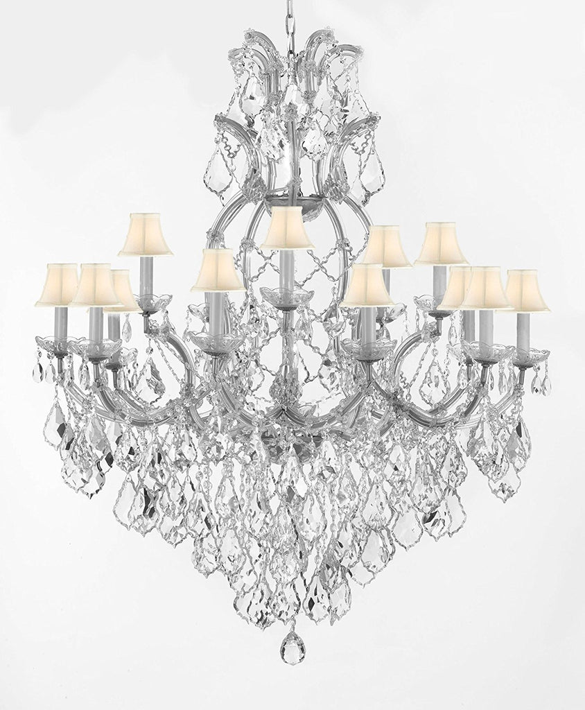 "Swarovski Crystal Trimmed Maria Theresa Chandelier Lights Fixture Pendant Ceiling Lamp for Dining room, Entryway , Living room Dressed with Large, Luxe Crystals! H44"" X W37"" w/WhiteShades - A83-B90/CS/WHITESHADES/52/21510/15+1SW"