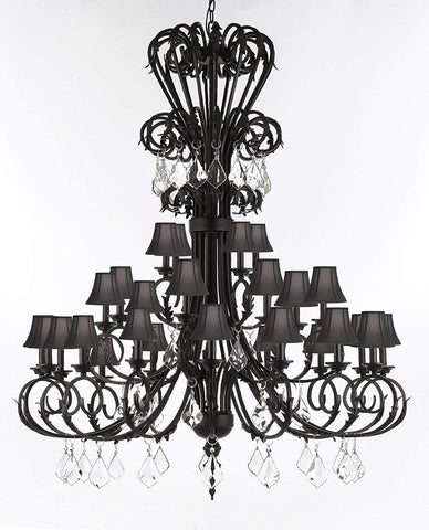"Versailles Large Foyer/Entryway Wrought Iron Chandelier with Crystal and Shades 60"" Inches Tall - T205-724/28/B7/SC/BLACK"