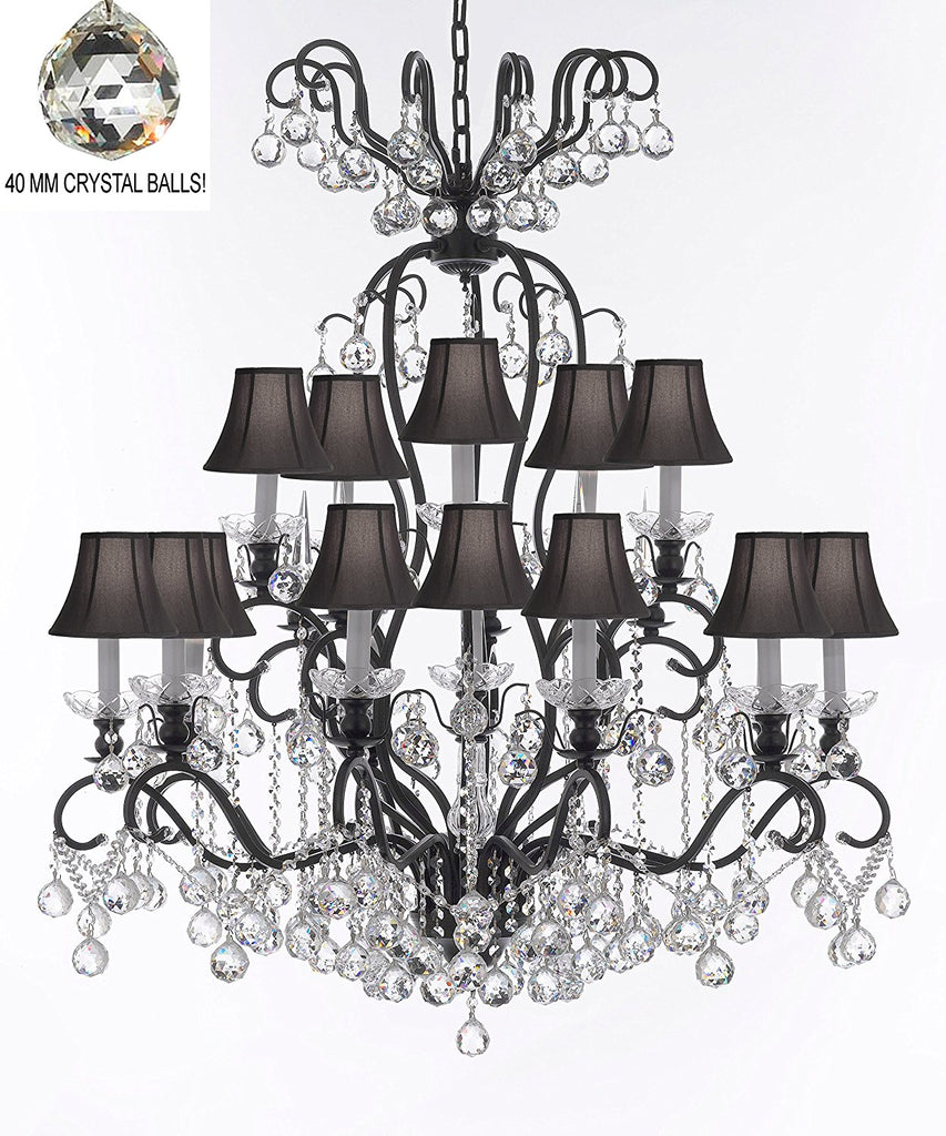 "Wrought Iron Crystal Chandelier Lighting Dressed with Crystal Balls W38"" H44"" - Great for the Dining Room, Foyer, Entry Way, Living Room w/Black Shades - F83-B6/BLACKSHADES/556/16"