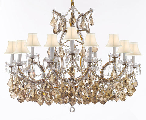 "Maria Theresa Chandelier Crystal Lighting H28"" X W37"" W/ Golden Teak Crystal Good For Dining Room Entryway Living Room W/White Shades - A83-B2/B62Goldenteak/Cg21510/15+1Whtshd"