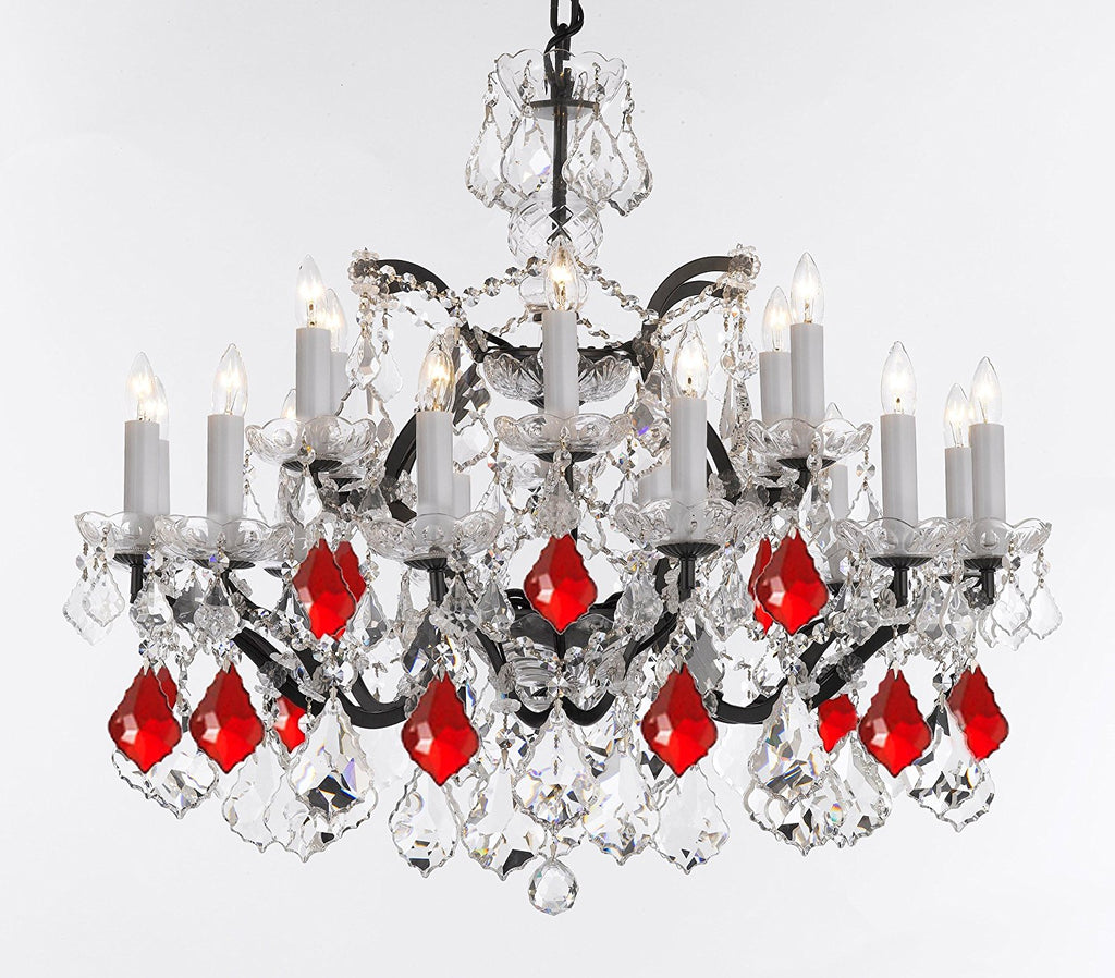 "19th C. Rococo Iron & Crystal Chandelier Lighting Dressed with Empress Crystal (tm) - Dressed with Ruby Red Crystals Great for Kitchens, Bedrooms, Closets, and Dining Rooms H 28"" x W 30"" - G83-B98/995/18"