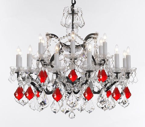 "Swarovski Crystal Trimmed Chandelier 19th C. Rococo Iron & Crystal Chandelier Lighting- Dressed with Ruby Red Crystals Great for Kitchens, Bathrooms, Closets, and Dining Rooms H 28"" x W 30"" - G83-B98/995/18SW"
