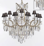 "Maria Theresa Chandelier Crystal Lighting Chandeliers w/Optical Quality Fringe Prisms! Great for the Dining Room, Foyer, Entry Way, Living Room! H38"" X W37"" w/Black Shades - A83-B8/BLACKSHADES/21510/15+1"