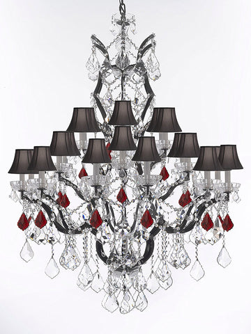 "Swarovski Crystal Trimmed Chandelier 19th C. Rococo Iron & Crystal Chandelier Lighting Dressed w/Ruby Red Crystals H 52"" x W 41"" - Great for the Dining Room, Entry Way, Living Room w/Black Shades - G83-B98/BLACKSHADES/996/25SW"