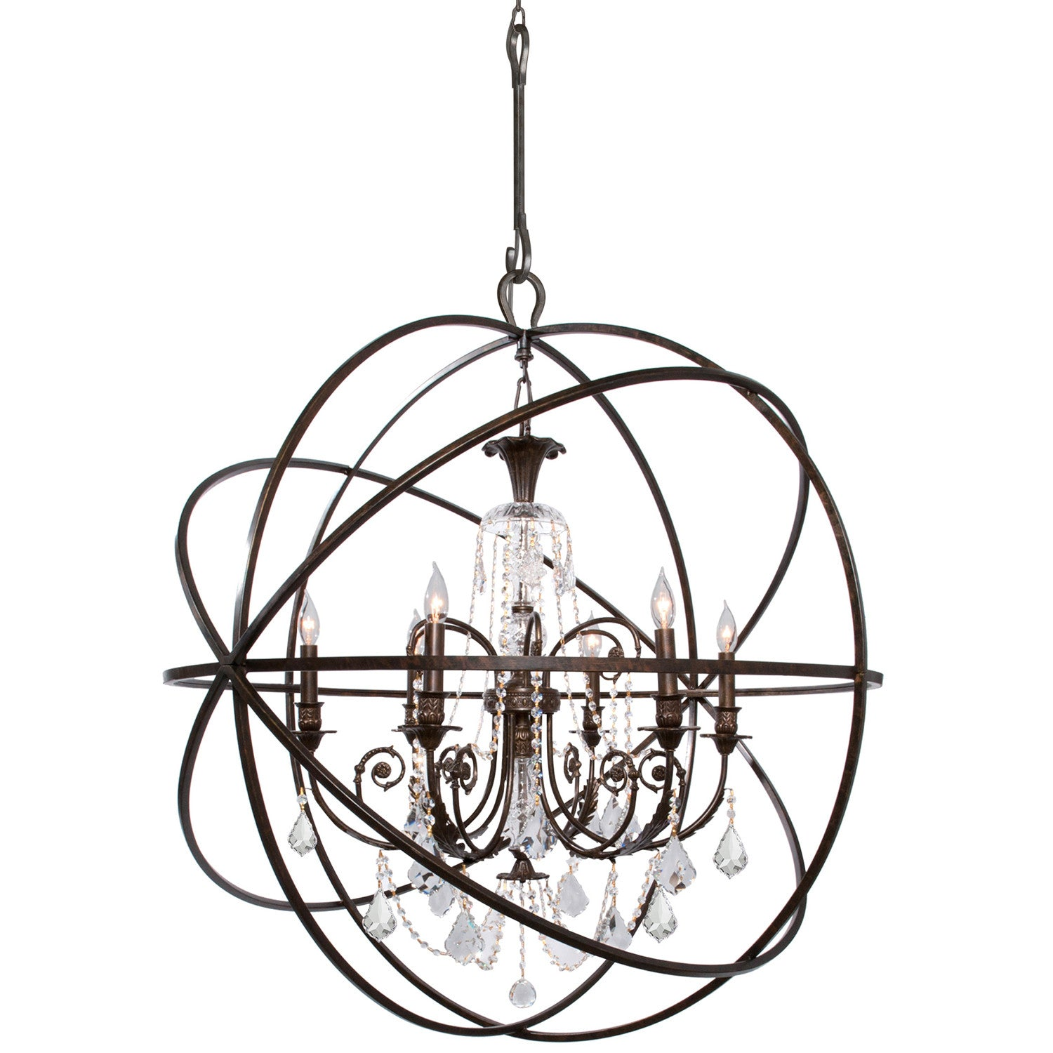 6 Light English Bronze Industrial Chandelier Draped In Clear Hand Cut Crystal - C193-9219-EB-CL-MWP