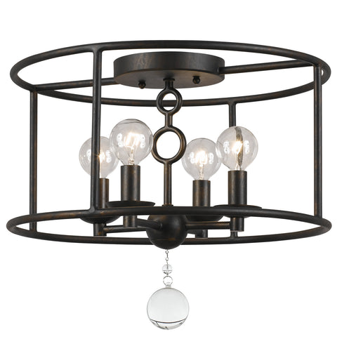 4 Light English Bronze Industrial Ceiling Mount Draped In Clear Glass Drops - C193-9267-EB