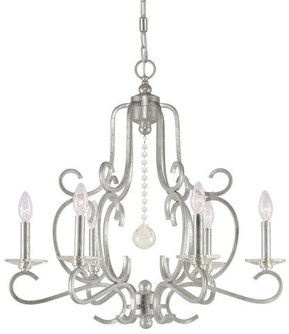 6 Light Olde Silver Eclectic Chandelier Draped In Hand Cut Crystal  - C193-9346-OS