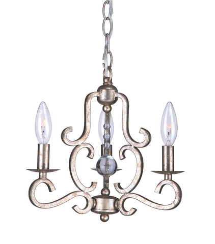 3 Light Olde Silver Eclectic Mini Chandelier Draped In Clear Glass Drops - C193-9347-OS