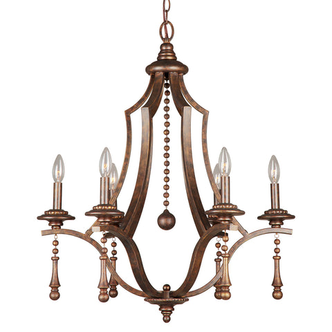 6 Light English Bronze Chic Chandelier - C193-9356-EB