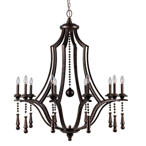 10 Light English Bronze Chic Chandelier - C193-9359-EB