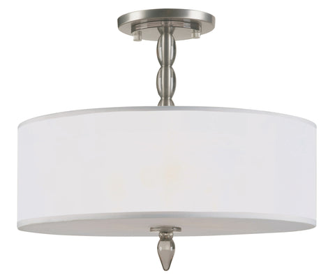 3 Light Satin Nickel Transitional  Modern Chandelier - C193-9505-SN