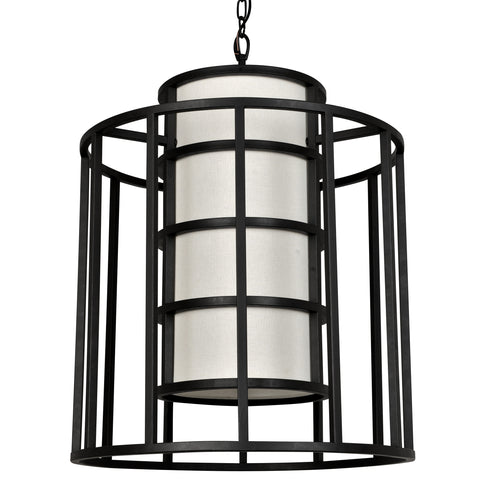 6 Light Matte Black Industrial Chic Chandelier - C193-9597-MK