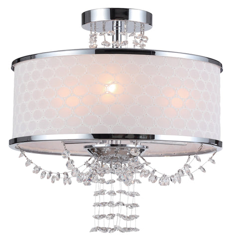 3 Light Polished Chrome Modern Ceiling Mount Draped In Hand Cut Crystal Beads - C193-9804-CH_CEILING
