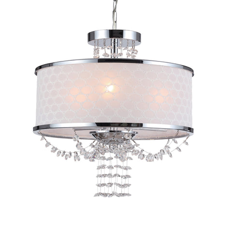 3 Light Polished Chrome Modern Mini Chandelier Draped In Hand Cut Crystal Beads - C193-9804-CH