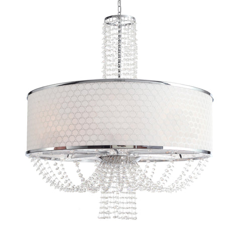 8 Light Polished Chrome Modern Chandelier Draped In Hand Cut Crystal Beads - C193-9808-CH
