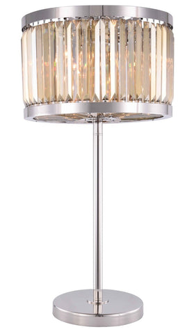 ZC121-1233TL18PN-GT/RC - Urban Classic: Chelsea 4 light Polished nickel Table Lamp Golden Teak (Smoky) Royal Cut Crystal