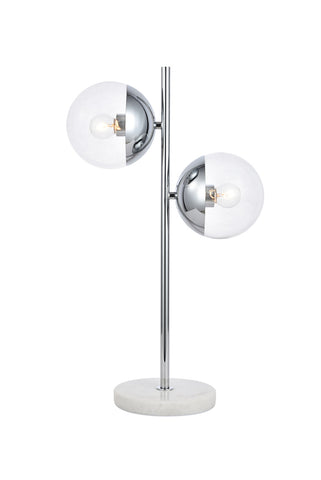 ZC121-LD6155C - Living District: Eclipse 2 Lights Chrome Table Lamp With Clear Glass