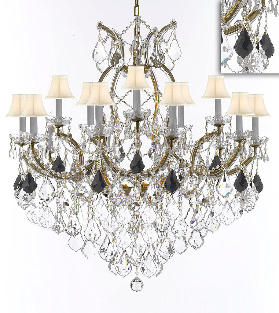 "Maria Theresa Chandelier Crystal Lighting Chandeliers Lights Fixture Pendant Ceiling Lamp for Dining room, Entryway , Living room H38"" X W37"" - Dressed with Jet Black Crystals and White Shades - A83-B97/WHITESHADES/21510/15+1"