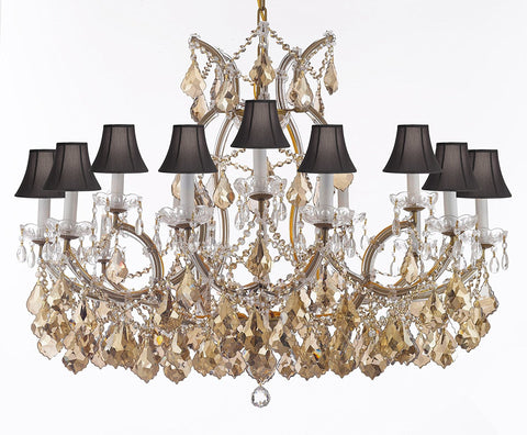"Maria Theresa Chandelier Crystal Lighting H28"" X W37"" W/ Golden Teak Crystal Good For Dining Room Entryway Living Room W/Black Shades - A83-B2/B62Goldenteak/Cg21510/15+1Blkshd"