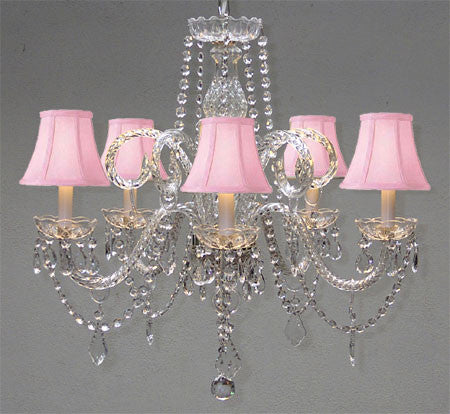 "Swarovski Crystal Trimmed Chandelier Crystal Chandelier And Pink Shades H25"" X W24"" - A46-Pinkshades/385/5Sw"