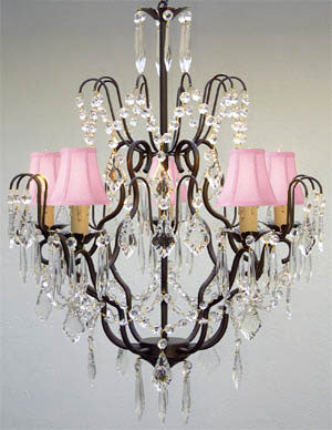 "Swarovski Crystal Trimmed Chandelier Wrought Iron & Crystal Chandelier And Pink Shades H27"" X W21"" - J10-Pinkshades/C/26034/5 Sw"