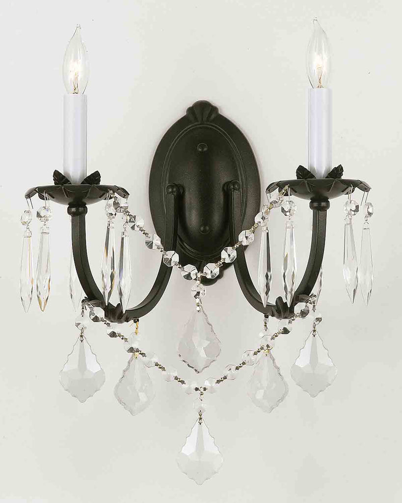 Image of: Wrought Iron Wall Sconce Crystal Wall Sconces Lighting H11 X W11 A Gallery Chandeliers