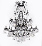 "Swarovski Crystal Trimmed Chandelier Large Foyer / Entryway Wrought Iron Chandelier Lighting With Crystal H60"" X W52"" - A83-3031/36Sw"