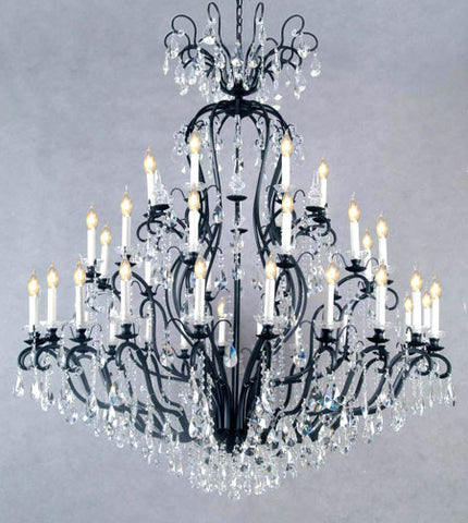 "Wrought Iron Crystal Chandelier Chandeliers Lighting H72"" x W60"" - Perfect for an Entryway or Foyer! - A83-556/41"