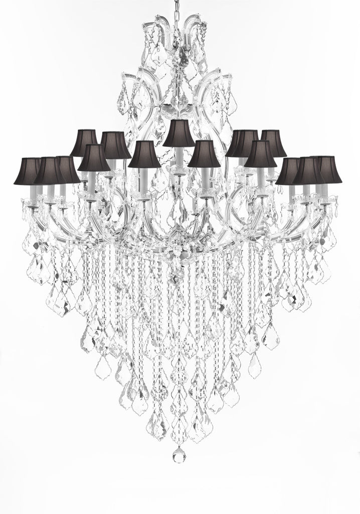 "Swarovski Crystal Trimmed Chandelier Lighting Chandeliers H65""XW46"" Great for the Foyer, Entry Way, Living Room, Family Room and More w/Black Shades - A83-B12/BLACKSHADES/CS/52/2MT/24+1SW"