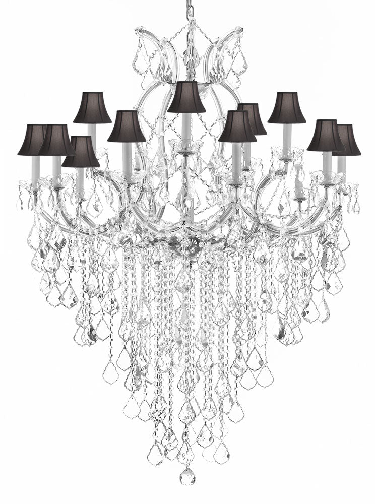 "Maria Theresa Chandelier Empress Crystal (Tm) Lighting Chandeliers H50"" X W37"" With Black Shades Great For Large Foyer / Entryway - A83-B12/Silver/Sc/Blackshades/21510/15+1"