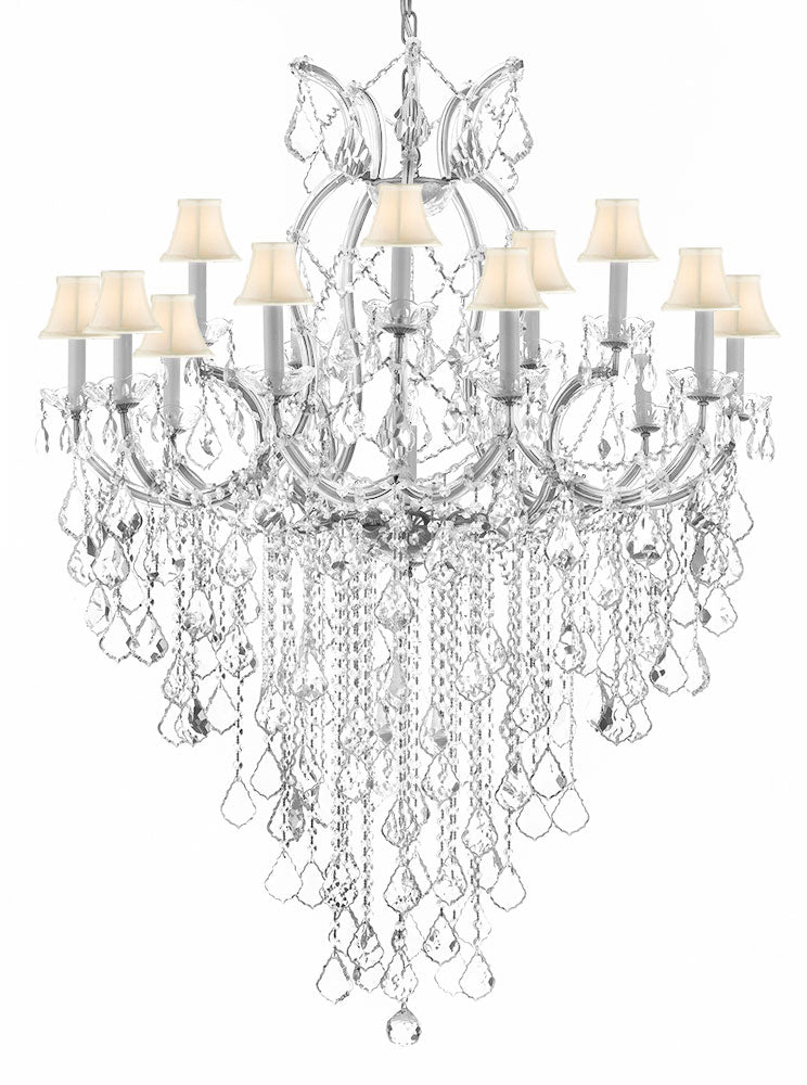 "Maria Theresa Chandelier Empress Crystal (tm) Lighting Chandeliers H50"" X W37"" With White Shades! GREAT FOR LARGE FOYER / ENTRYWAY! - A83-B12/SILVER/SC/Whiteshades/21510/15+1"