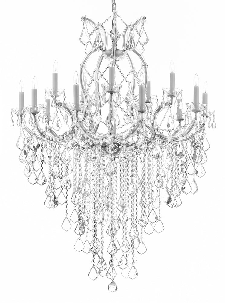 "Maria Theresa Chandelier Empress Crystal (Tm) Lighting Chandeliers H50"" X W37"" Great For Large Foyer / Entryway - A83-B12/Silver/21510/15+1"