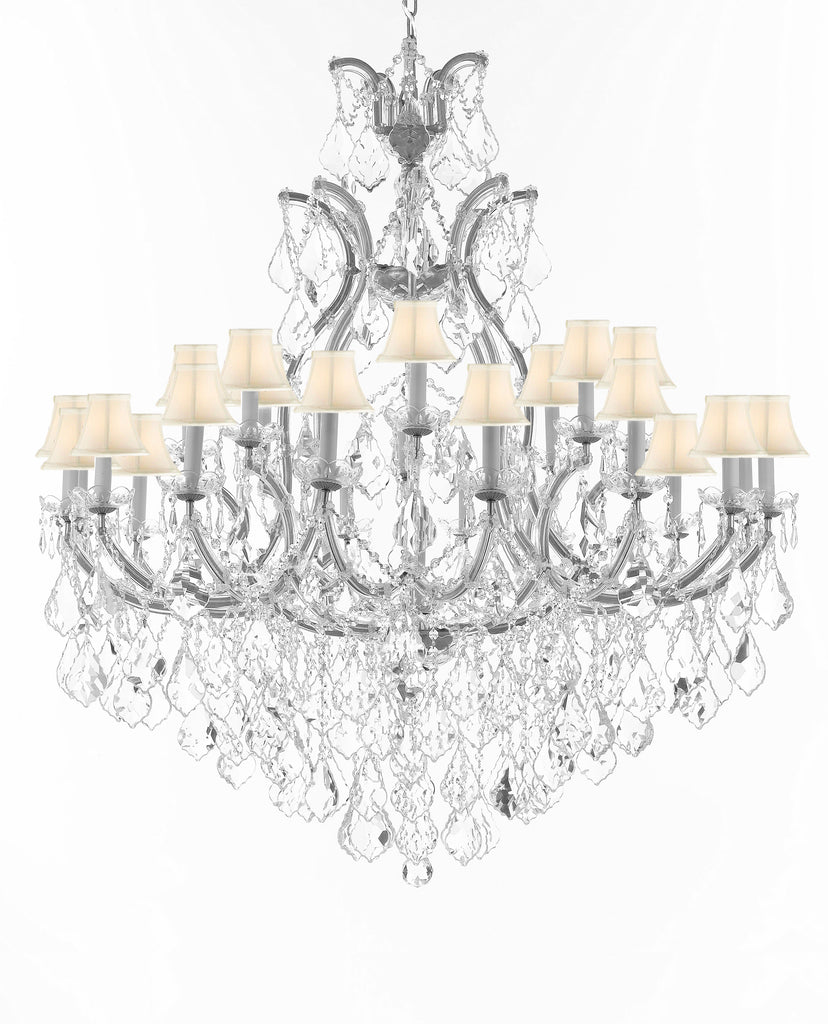 "Swarovski Crystal Trimmed Chandelier Lighting Chandeliers H52"" X W46"" Dressed with Large, Luxe Crystals - Great for the Foyer, Entry Way, Living Room, Family Room & More w/White Shades - A83-B90/CS/WHITESHADES/52/2MT/24+1SW"