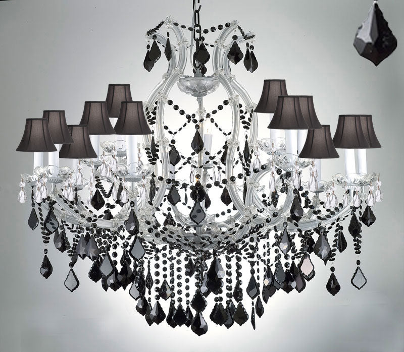"Maria Theresa Chandelier Crystal Lighting H38"" W37"" Jet Black Crystal & Shades - A83-Sc/Silver/21510/15+1/Black"