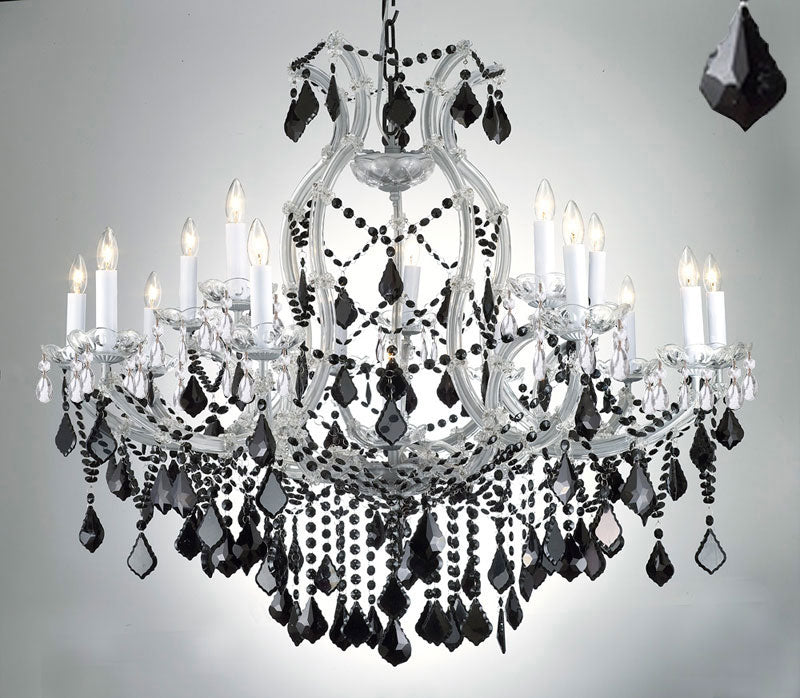 "New Maria Theresa Chandelier Crystal Lighting H38"" X W37"" W/ Jet Black Crystal - A83-Silver/21510/15+1/Blackcrystal"