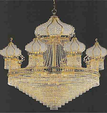 A93-479/34100% CRYSTAL CHANDELIER, this 24K Gold plated chandelier is characteristic of the grand chandeliers which decorated the finest Chateaux and Palaces across Europe and reflects a time of clas