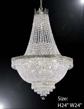 "French Empire Crystal Chandelier Lighting H24"" X W24"" - A93-C3/Silver/870/9"