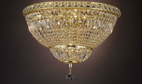 "Flush French Empire Crystal Chandelier Lighting H22"" W30"" - A93-Flush/Cg/454/14"