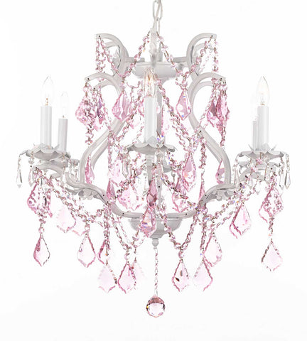 "White Wrought Iron Crystal Chandelier Lighting With Pink Crystals H 19"" W 20"" - A83-Pinkb2/White/3530/6"