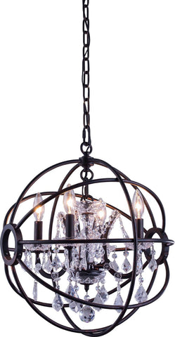 C121-1130D17DB/RC By Elegant Lighting - Geneva Collection Dark Bronze Finish 4 Lights Pendant lamp