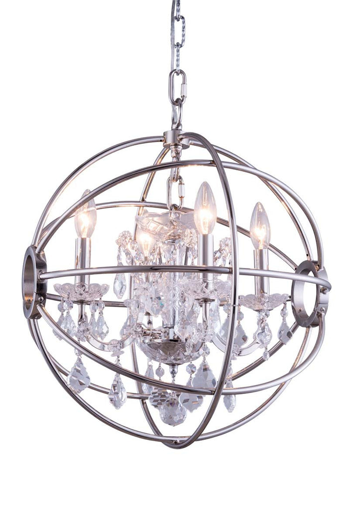ZC121-1130D17PN-GT/RC By Regency Lighting - Geneva Collection Polished nickel Finish 4 Lights Pendant Lamp