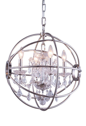 C121-1130D17PN/RC By Elegant Lighting - Geneva Collection Polished nickel Finish 4 Lights Pendant lamp