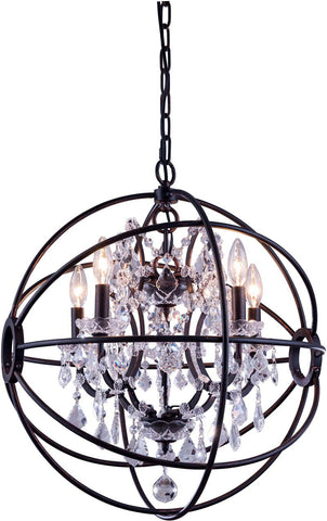 C121-1130D20DB/RC By Elegant Lighting - Geneva Collection Dark Bronze Finish 5 Lights Pendant lamp