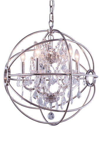 C121-1130D20PN/RC By Elegant Lighting - Geneva Collection Polished nickel Finish 5 Lights Pendant lamp