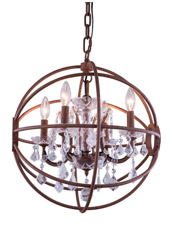 C121-1130D20RI/RC By Elegant Lighting - Geneva Collection Intent Finish 5 Lights Pendant lamp