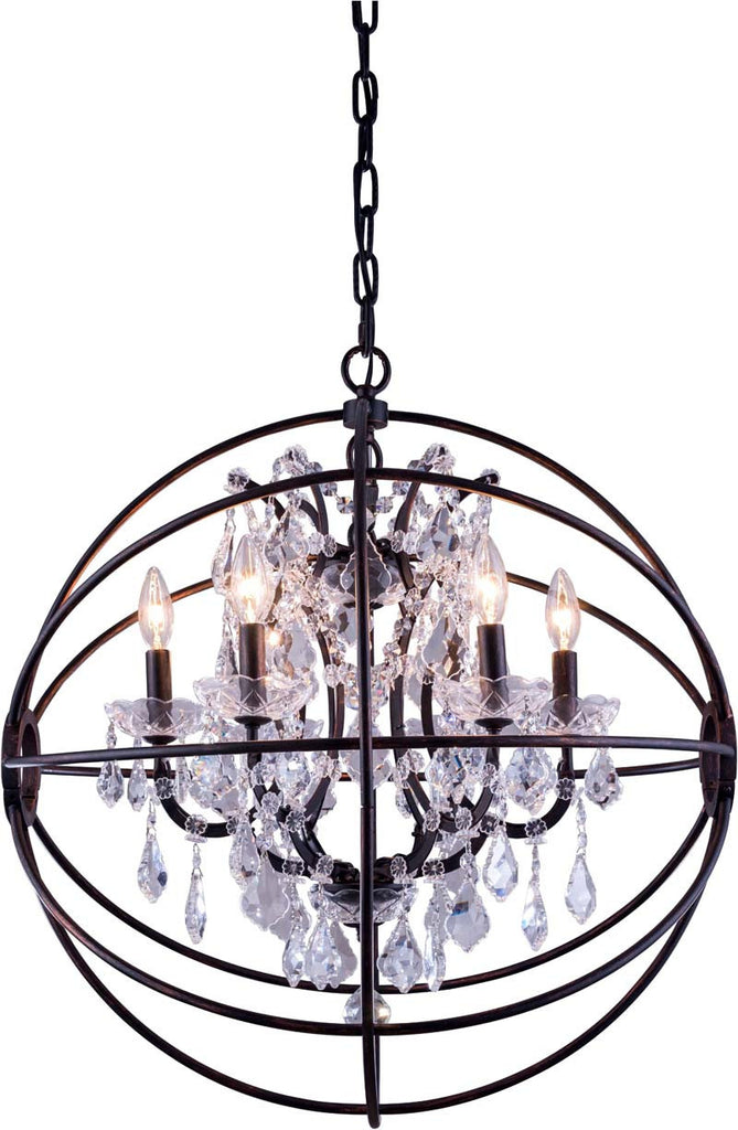 C121-1130D25DB/RC By Elegant Lighting - Geneva Collection Dark Bronze Finish 6 Lights Pendant lamp