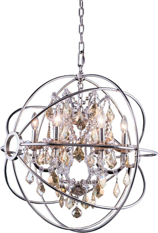C121-1130D25PN-GT/RC By Elegant Lighting - Geneva Collection Polished nickel Finish 6 Lights Pendant lamp