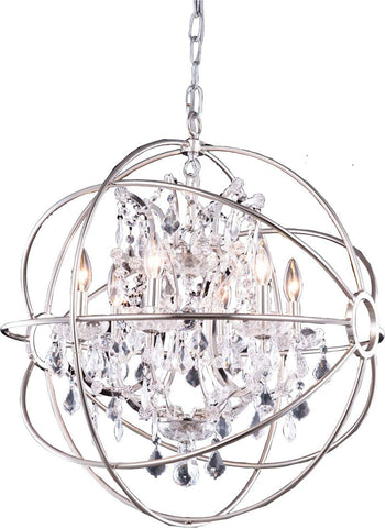 C121-1130D25PN/RC By Elegant Lighting Urban Collection 6 Light Pendent lamp Polished nickel Finish