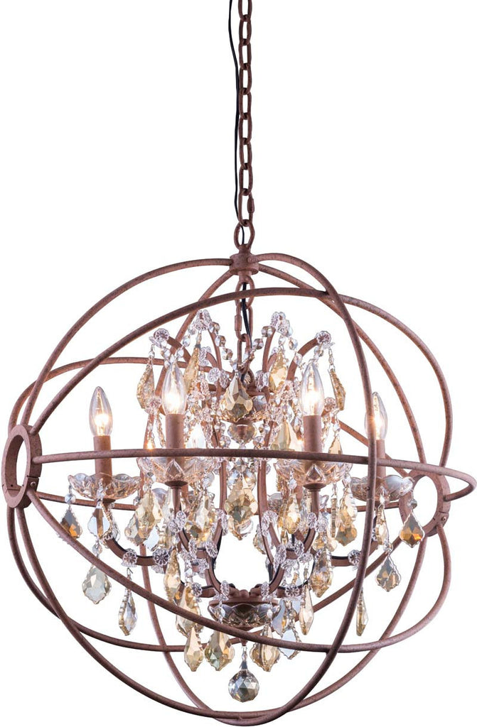 C121-1130D25RI-GT/RC By Elegant Lighting - Geneva Collection Intent Finish 6 Lights Pendant lamp